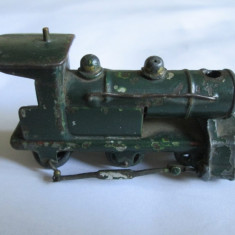 RARA! MINI LOCOMOTIVA METALICA DIN FIER/FONTA FABRICATA IN ANII 40-50 - Macheta Feroviara, Z, Locomotive