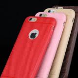 Husa slim silicon iphone 6 plus, 6s plus cu model anti alunecare - cafeniu - Husa Telefon, Maro