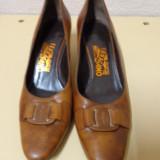 Pantofi piele naturala maro  Salvatore Ferragamo