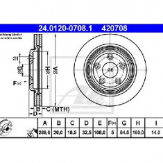 Disc frana JAGUAR S TYPE CCX PRODUCATOR ATE 24.0120-0708.1 - Discuri frana