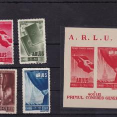 Timbre Romania, Nestampilat - ROMANIA 1945, LP 171, LP 172, ARLUS SERIE SI COLITA, MNH