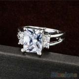 Inel placat aur alb 9k cristal diamant alb cadou femei logodna argintiu nou - Inel placate cu aur