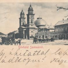 SATU MARE, SALUTARI DIN SATU MARE, CLASICA, CIRCULATA MAI 1900 - Carte Postala Maramures pana la 1904, Printata