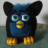 Jucarie Furby din material textil negru si albastru, de la McDonalds 2001, 8cm