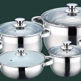Set oale inox 12 piese - capac sticla Baza tripla - ptr Inductie - maner inox GR 1513