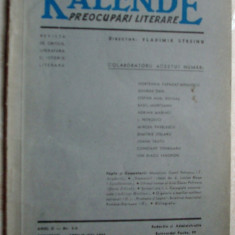 REVISTA KALENDE, Dir.VLADIMIR STREINU/anII nr.4-5/1943(Stelaru/Tonegaru/Arghezi+)