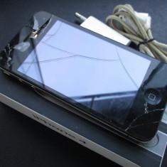 iPhone 4 Apple 16Gb cu geam crapat / Orange Ro +cutie+incarcator, Negru