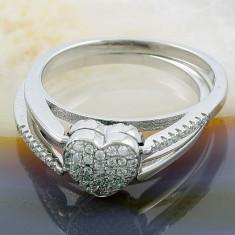 Inel argint - Inel din Argint 925, cu Doua Fete, model Inima, cod 875