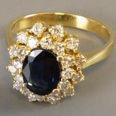 Inel diamant, 57 - 67 - Inel aur cu diamante si safir