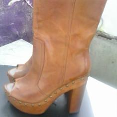 Sandale-cizme cu platforma, Wenge-Boot, piele naturala interior si exterior, 39 - Sandale dama, Culoare: Camel