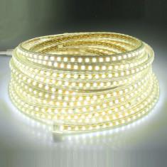 Banda LED rola 5 metri 230V ac 120 LED-uri/metru izolata IP67 impermeabila - Bec / LED