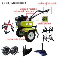 Gardelina Motocultor A02001043, 7 CP, freze, roti cauciuc, roti metalice, plug BG, rarita reglabila, prasitoare hoby, cupla, 700-1000 mm
