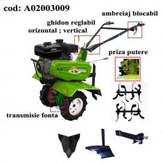 Gardelina Motocultor A02003009, 7 CP, freze, roti, plug BG, rarita fixa, cupla, 1000 mm