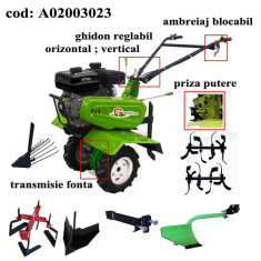 Gardelina Motocultor A02003023, 7 CP, freze, roti, plug hoby, rarita reglabila, prasitoare hoby, plug cartofi, cupla, 1000 mm