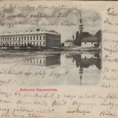 Romania, Belenyes, Beius carte postala circulata 1900: Gimnaziul - Carte Postala Crisana pana la 1904, Fotografie