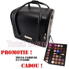 Geanta cosmetice - Geanta cosmetica Fraulein38 Germania Black+ CADOU Trusa 24 Culori