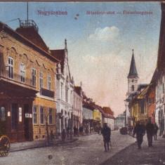 Romania, Nagyszeben, Sibiu carte postala necirculata 1918: Str. Meszaros, animat, Fotografie
