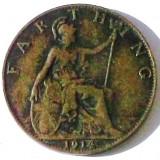 G5. ANGLIA MAREA BRITANIE FARTHING 1914, 2.8 g, Bronze, 20 mm, George V **, Europa, An: 1914