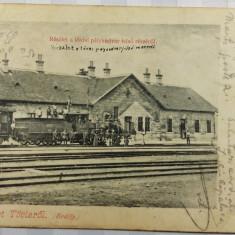 TEIUS -TOVIS -GARA VECHE -TREN CU PRIMELE TIPURI DE LOCOMOTIVE -ANIMATIE - 1904 - Carte Postala Transilvania pana la 1904, Circulata, Fotografie