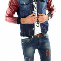 Geaca de blugi tip ZARA - geaca slim fit - geaca fashion - geaca de blugi 6082 - Geaca barbati, Marime: S, Culoare: Din imagine
