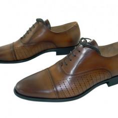 Pantofi barbati eleganti Denis-1289 cuoio 4, Piele naturala