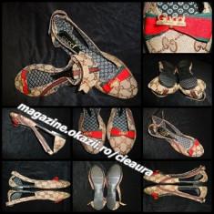 Sandale dama, Textil - OPINCUTE DECUPATE DAMA GEN FIRMA GUCCI PANZA BEJ IMPRIMEU CLASIC SCAI LOGO AURIU