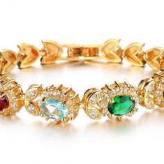 Bratara placate cu aur, Femei - Bratara Placata Aur 18K Cristale Zirconiu - Ideala pentru Cadou Femei / Dama