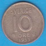 (2) MONEDA DIN ARGINT SUEDIA - 10 ORE 1953, LIT. TS, MODEL KM #823, Europa