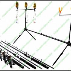 Set Complet Pescuit Rod Pod 3 Posturi Avertizori Swingeri Lansete Mulinete - Lanseta