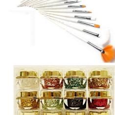 Set 12 Geluri Uv Color cu Sclipici EzFlow + 15 Pensule Profesionale Manichura