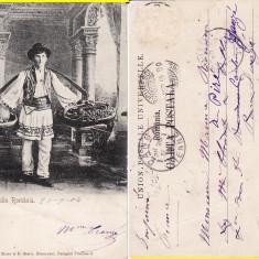 Port Popular National- tipuri-clasica - Carte Postala Oltenia pana la 1904, Circulata, Printata