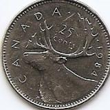 Canada 25 Centi 1984 - Elizabeth II, 23.88 mm, KM-74, America de Nord