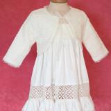 Botez - Bolero fetite Macrame (Culoare: crem, Imbracaminte pentru varsta: 0 - 3 luni - 62 cm)