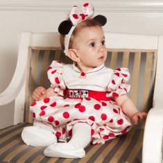 Botez - Rochita de ocazie pentru copii Minnie (Culoare: rosu, Imbracaminte pentru varsta: 12 luni - 80 cm, Model: buline)