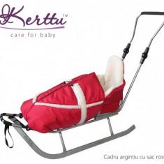 Sanie - Saniuta pentru copii cu cadru argintiu Speed Rosu Kerttu