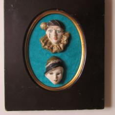Arta Ceramica - MASTI VENETIENE-APLICA-ceramica, pictate, rama lemn, vintage