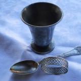 Set botez Vechi Pahar Lingurita si Inel servet marcate 1950 patina minunata - Argint, Cana