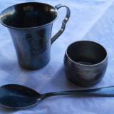 Set botez Vechi Cana Pahar Sceneta Scufita Rosie Lingura si Inel servet marcate - Argint