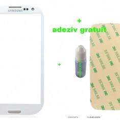 Ecran Geam Sticla Samsung Galaxy S3 Alb negru + loca cleaner + adeziv gratuit - Geam carcasa