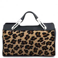 Geanta Dama - Geanta piele neagra cu imprimeu leopard GF464