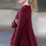 Bluza dama - BL482-81 Pulover tricotat cu torsade si volanas in partea inferioara