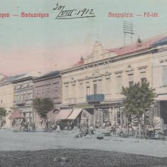 REGHIN, REGHINUL SASESC, PIATA PRINCIPALA, MAGAZINE, CIRCULATA AUG.''912 - Carte Postala Transilvania pana la 1904, Printata