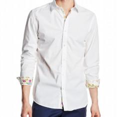 Camasa 100% bumbac, mansete florale - SELECTED - art 16053434 alb, slim fit - Camasa barbati Selected, Marime: S, M, L, XL, XXL