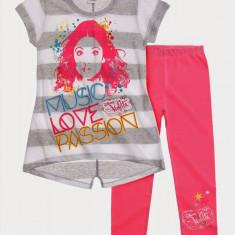Tricou cu leggings Disney Violetta alb/roz