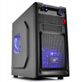 "CARCASA DEEPCOOL mATX Mini-Tower, 2* 120mm BLUE LED fan (incluse), front audio &amp 1x USB 3.0, 1x USB 2.0, black ""SMARTER LED"""