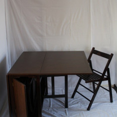 Set gradina - Set masa si 4 scaune pliante din lemn culoare wenge