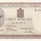 ROMANIA 500 lei 22 iulie 1941 - filigran orizontal XF+++!!!, An: 1941