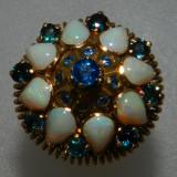 Inel aur 18k vintage deosebit pietre opal si safire, Galben