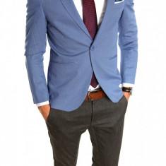 Sacou tip Zara Man albastru - sacou barbati - sacou casual 6414, Marime: 50, 52, Culoare: Din imagine
