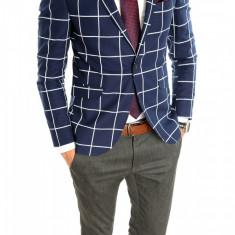 Sacou tip Zara Man bleumarin in carouri sacou barbati - sacou casual 6409, Marime: 50, 54, Culoare: Din imagine